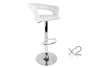 Set of 2 PU Leather Soft Back Kitchen Bar Stool (White)