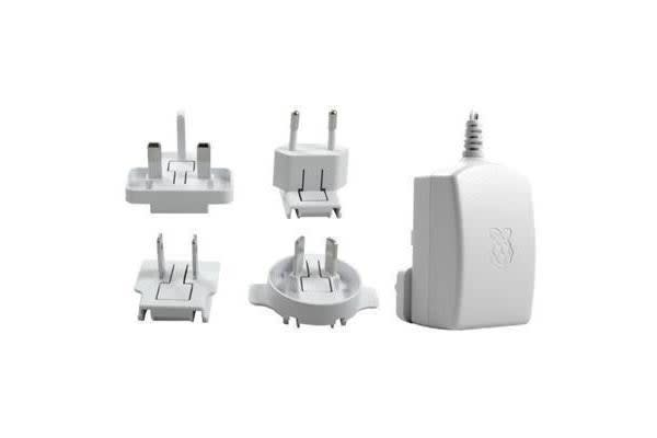 Raspberry Pi Official White Multi Plugs In (AU EU UK US) Travel Adapter with MicroUSB Connector