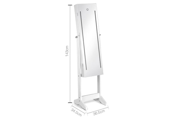 Lockable LED Mirror Jewellery Cabinet (White)