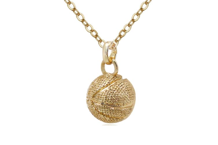 Basketball Pendant Hip Hop Sports Necklace Stainless Steel Chain  Gold