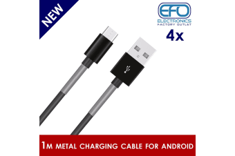 4Pc 1M Usb Data Charge Cable Micro Usb Connector For Samsung Htc Metal Protected 4X