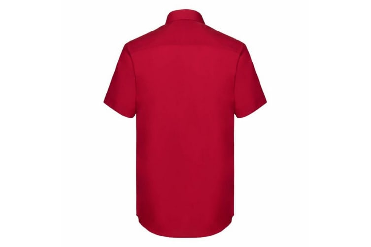 Russell Collection Mens Short Sleeve Poly-Cotton Easy Care Tailored Poplin Shirt (Classic Red) (4XL)