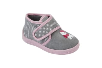 Sleepers Childrens Girls Whiskers Touch Fastening Cat Bootee Slippers (Grey/Pink) (10 UK Junior)