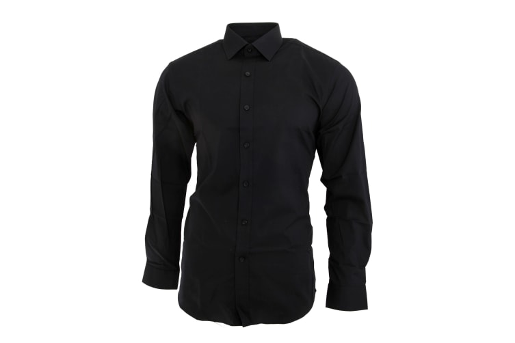 Brook Taverner Mens Pisa Long Sleeve Slim Fit Shirt (Black) (15.5)