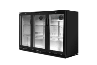 Devanti Bar Fridge 3 Glass Door Mini Freezer Beverage Wine Commercial 330L