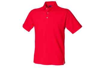 Henbury Mens Classic Plain Polo Shirt With Stand Up Collar (Classic Red)