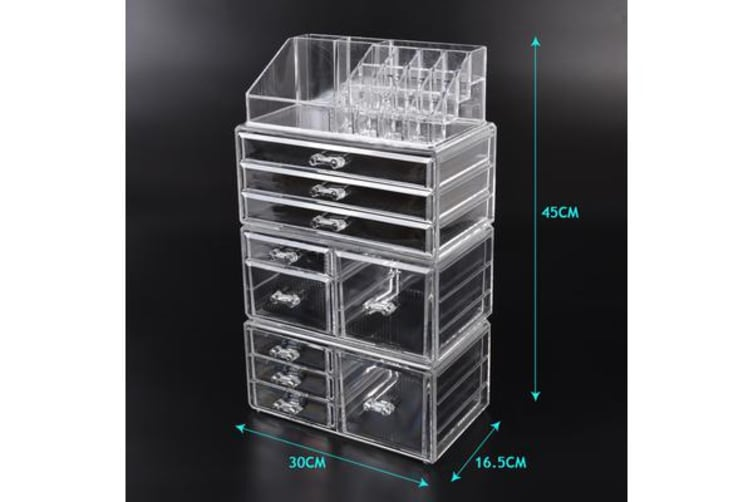 Cosmetic 10 Drawer Makeup Organizer Storage Jewellery Box Clear Acrylic Holder