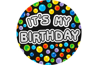 Expression Factory Mens Its My Birthday Giant Badge (Black/Multicoloured)