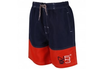 Regatta Great Outdoors Childrens Boys Shaul Swimming Shorts (Navy/Amber Glow)