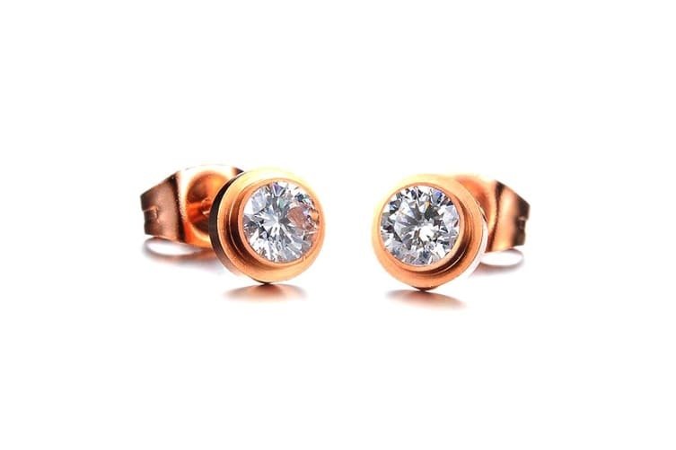 To Be Cherished Stud Earrings-Rose Gold/Clear