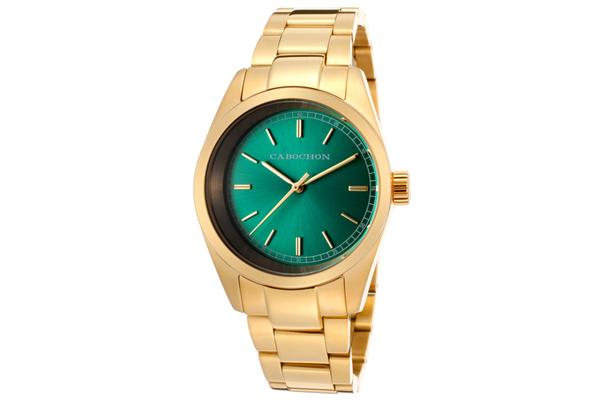 Cabochon Women's De Ce Monde Green Dial Gold Tone Ion Plated Stainless Steel (CABOCHON-515)
