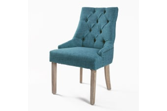 1X French Provincial Oak Leg Chair AMOUR - DARK BLUE