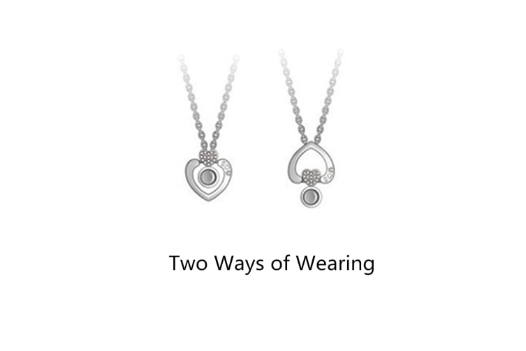 I Love You Pure Silver Memory Bead Pendant Round Necklace Lady White Gold Circular