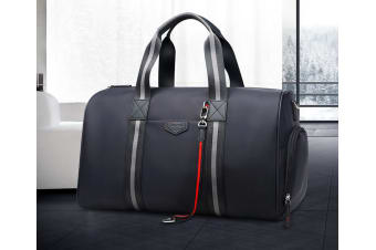 Bopai Luxury Business Style Leather & Microfibre Duffel Bag Waterproof Luggage Bag Crossbody Travel Bag B7711 Black