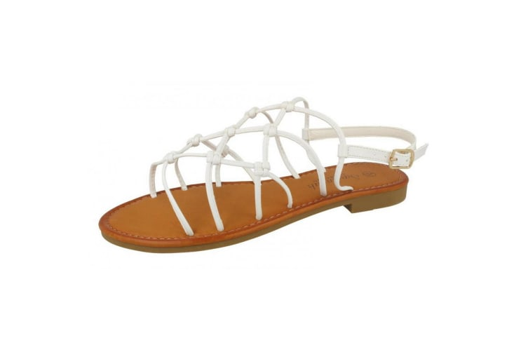Savannah Womens/Ladies Synthetic Wide Fitting Strappy Knot Sandals (White) (6 UK)
