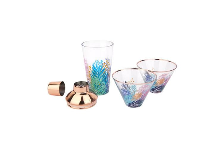 Sunnylife Luxe Shaker & Glass Set Electric Bloom