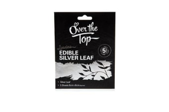 Over The Top Silver Leaf Transfer Sheet 5pc 8x8cm