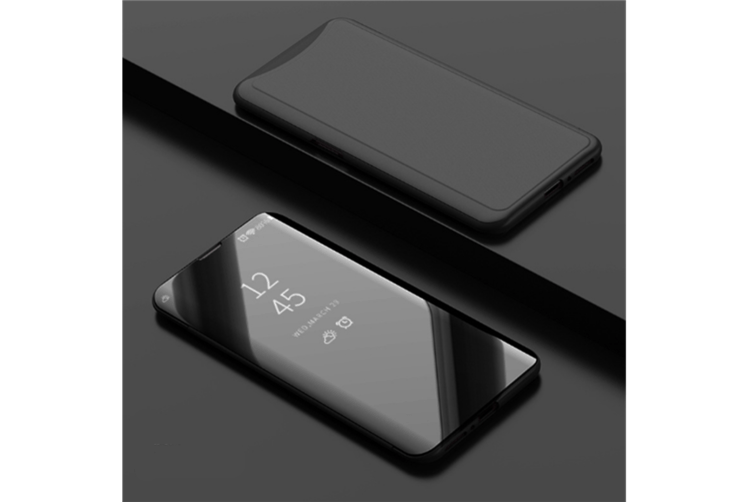 Mirror Cover Electroplate Clear Smart Kickstand For Oppo Series Black Oppo A5/A35