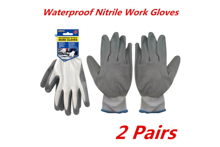 2 Pairs Premium Weatherproof Grey Nitrile Gloves Waterproof Work Gardening Glove