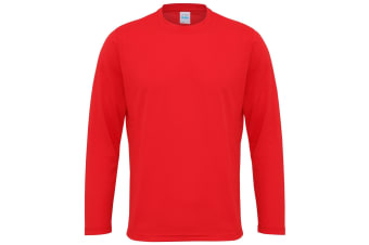 Just Cool Mens Long Sleeve Cool Sports Performance Plain T-Shirt (Fire Red)