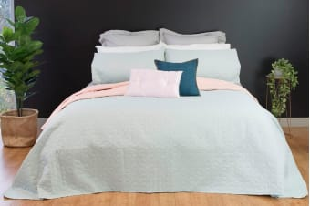 Ardor Boudoir Nottingham Embossed Coverlet (Pink/Blue)