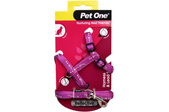 Purple Cat & Kitten Harness with lead Reflective Set - 15 to 22.5cm (Pet One)
