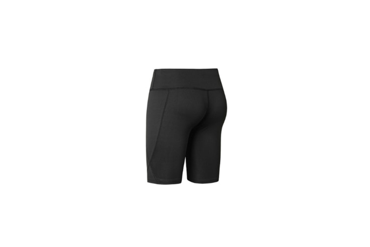 Women Performance Athletic Compression Shorts With Side Pocket - Black Black XXL