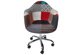 Replica Eames DAW / DAR Desk Chair | Multicoloured Patches V2 Fabric Seat