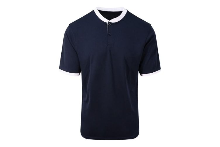 AWDis Just Cool Mens Stand Collar Sports Polo (French Navy/Arctic White) (XL)