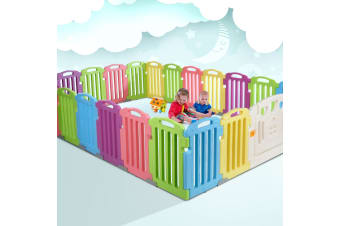 Cuddly Baby Playpen 23-Panel Plastic Play Pen Interactive Kids Toddler Gate