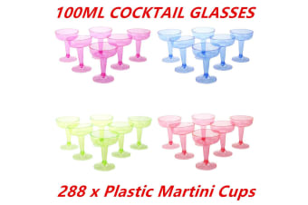 288 x COLORED 100 ML DISPOSABLE PARTY PLASTIC COCKTAIL MARTINI GLASS CUPS WEDDING