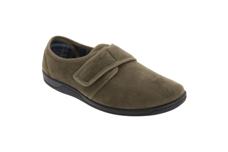 Sleepers Mens Tom Imitation Suede Touch Fastening Slippers (Khaki) (10 UK)