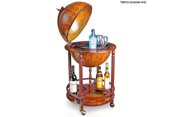 Deluxe Globe Home Bar Cabinet Wine Rack Liquor Cabinet - Red