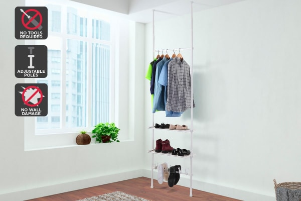 Ovela Adjustable Telescopic Clothes Hanger Shelf & Shoe Holder