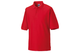 Russell Mens Classic Short Sleeve Polycotton Polo Shirt (Bright Red)