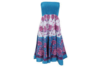 Womens/Ladies Floral Print 2 In 1 Cotton Dress (Turquoise) (Small - UK 8-10)