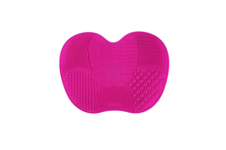 Silicone Makeup Brush Cleaner Pad Washing Scrubber Board Cleaning Mat  HotPink