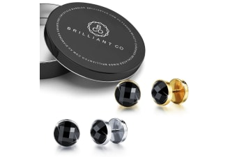 Onyx Button Earrings Set-Gold/White Gold