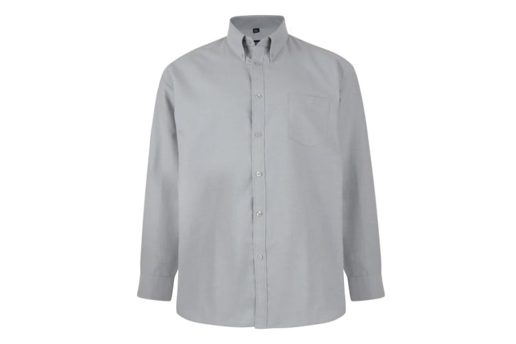 Kam Jeanswear Mens Long Sleeve Oxford Shirt (Grey) (XXL)