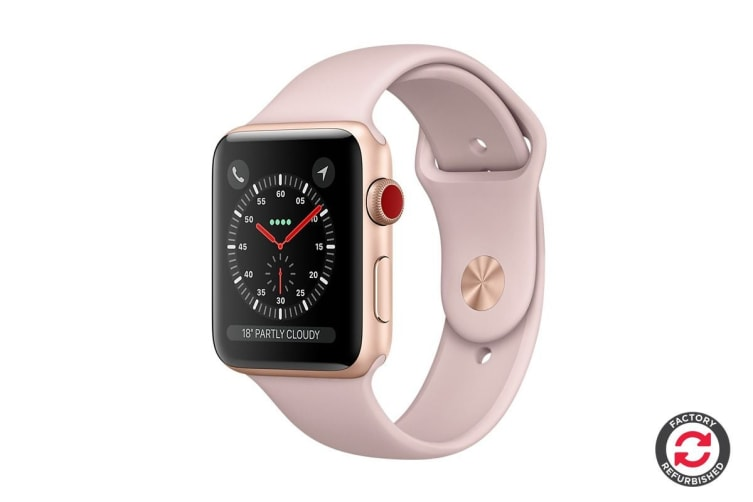 Apple Watch Series 3 Refurbished (Gold, 38mm, Pink Sand Sport Band, GPS + Cellular) - A Grade