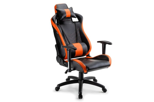 Overdrive Gaming Chair Office Computer Racing PU Leather Executive Black Orange