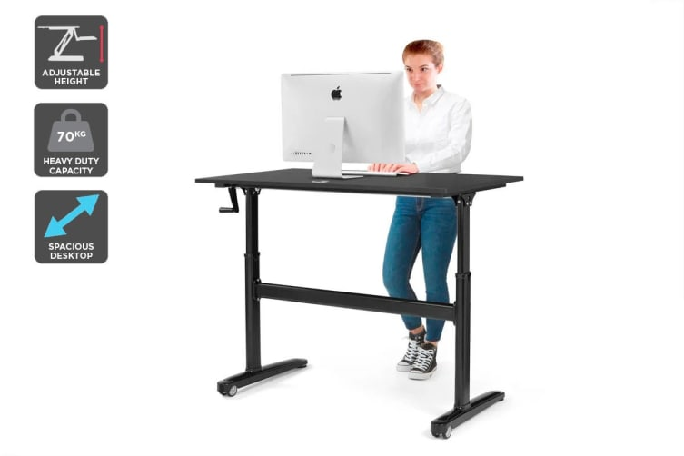 Ergolux Height Adjustable Sit Stand Desk (Black, 120 x 70cm)
