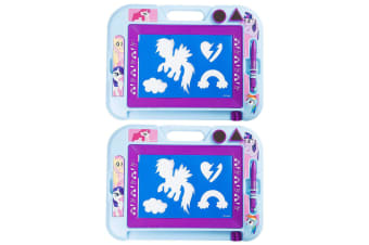 2x My Little Pony Magnetic Scribbler Doodle Drawing Board w/ Stamps f/ Kids 3y+