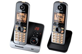 Panasonic Dect 6.0 Twin Handset W/ Answer Power Failure Talk System Kx-Tg6722 - Refurbished