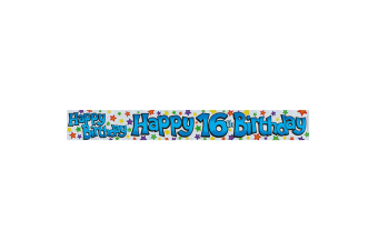 Expression Factory Childrens Boys Happy 16th Birthday Foil Banner (White/Blue)