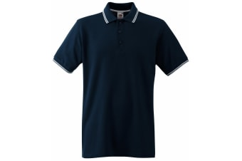 Fruit Of The Loom Mens Tipped Short Sleeve Polo Shirt (Deep Navy/White)
