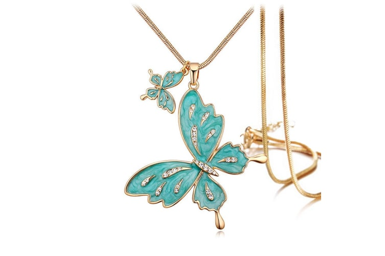 Sweet Butterfly Long Necklace Green Embellished with Swarovski crystals