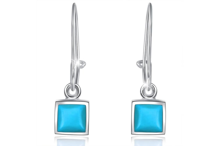.925 Turquoise French Hook Earrings-Silver/Turquoise