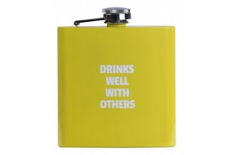 Hip Flask Alcohol Travel Bottle Portable Drinkware Stainless Steel Colours Fun - Yellow