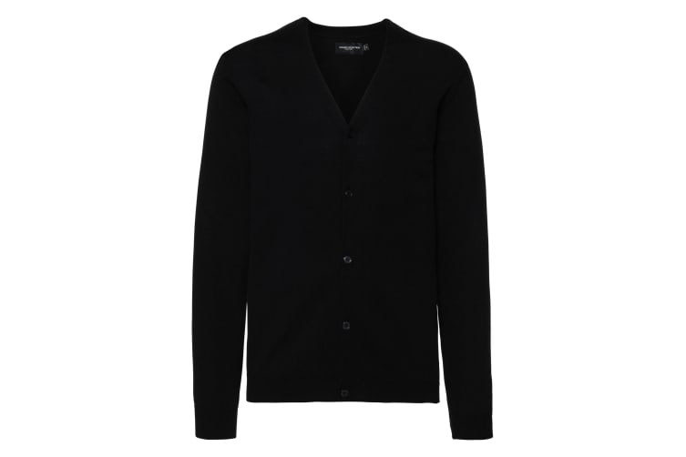 Russell Collection Mens V-neck Knitted Cardigan (Black) (2XS)